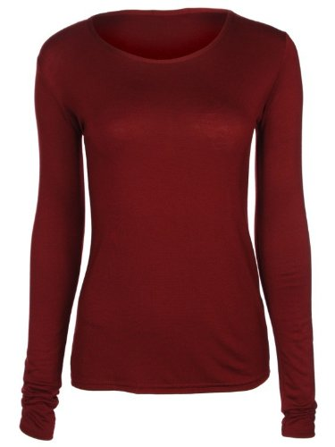 NEW WOMENS LADIES PLAIN LONG SLEEVE TOPS T-SHIRT ALL COLOURS SIZE (8-14) (S/M, WINE)