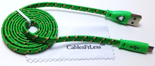 Cablesfrless 3Ft Color Changing Light Up High Quality Braided Noodle Micro Usb B Charging / Data Sync Cable Fits Most Android Devices (Green)