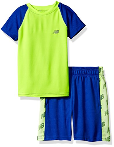 New Balance Boys' Little Boys' Short Sleeve Performance Colorblock T-Shirt and Short Set, Pacific/Toxic, Pacific/White/Toxic, 7