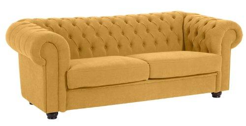 Max Winzer 2551-3880-2051766 Sofa London im Chesterfield Look, 3 Sitzer 2-geteilt, flauschiges Flachgewebe gelb