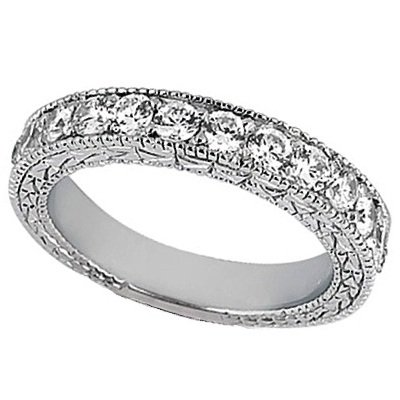Antique Style Pave Set Wedding Ring Anniversary