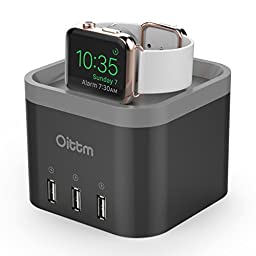 Oittm Charge Dock for Apple Watch, 4-Port USB Charging Hub Desktop Smart Charging Stand Cable Manage USB Wall Charger for iPhone, iPad, Samsung (Black)