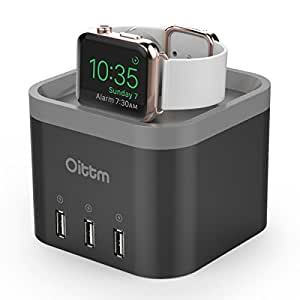Oittm Apple Watch Stand, [2 in 1] 4 Ports USB 3.0 Hub Desktop Smart Charging Station USB Wall Charger with Intelligent Auto Detect Technology for iPhone, iPad, Samsung and More (Black)