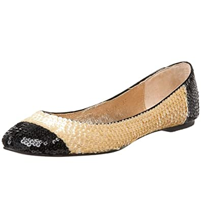 ALL BLACK Women's More Sequins Flat,Yellow,35.5 EU