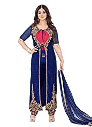 YOUR CHOICE Soft Net Blue Embroidered Women's Anarkali Suit PRI157