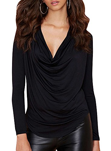 Hdy Women'S Winter Casual Slim Fit Deep V Pullover Blouses Shirts 3Xl Black