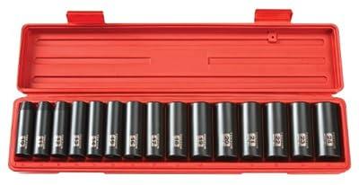 TEKTON 4883 1/2-Inch Drive Deep Impact Socket Set, Metric, Cr-V, 6-Point, 10 mm - 24 mm, 15-Sockets