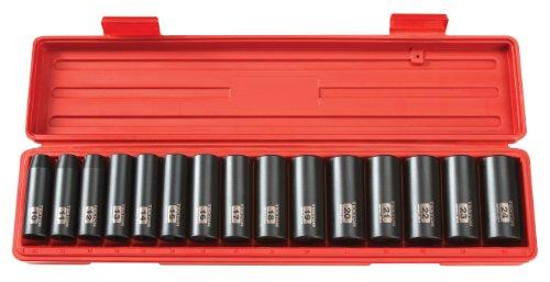 TEKTON 4883 1/2-Inch Drive Deep Impact Socket Set, 10-24mm, Metric, Cr-V, 15 Sockets