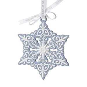#!Cheap Wedgwood Blue and White Snowflake Ornament