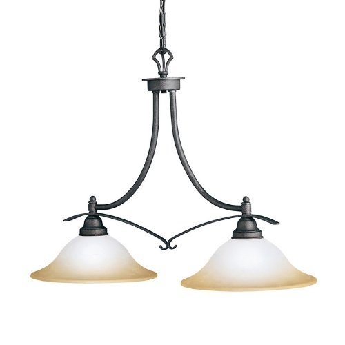 B001BYPK8Q Kichler Lighting 2944DBK 2 Light Pomeroy Island Light, Distressed Black