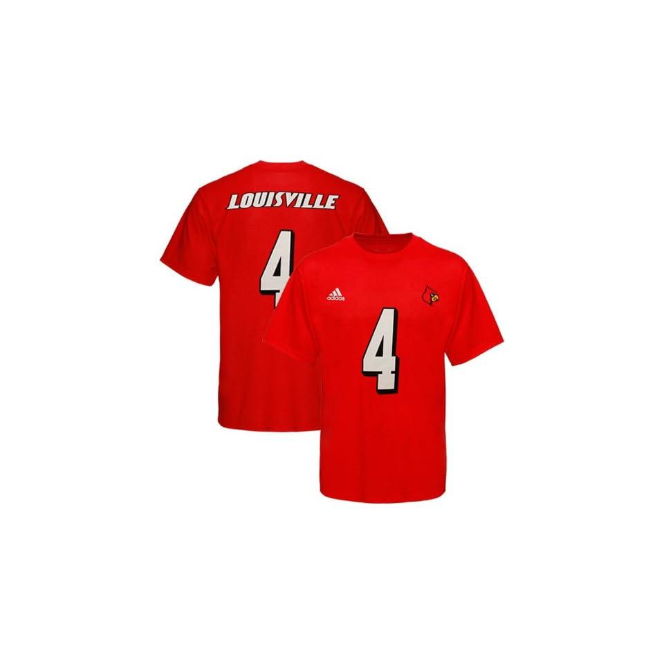 adidas Louisville Cardinals #4 Football Player T Shirt   Red