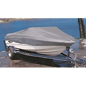 "GSI Super Quality All-Seasons Weather-Resistant Cover for Long Standard V-Hull Runabouts Boat - Size: 17' to 19.6', Up to 96"" Wide - 100% Polyester, 210 Denier - Navy Blue"