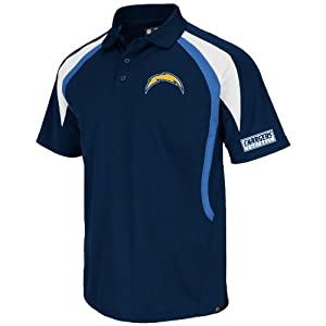 NFL San Diego Chargers Men's Field Classic VI Short Sleeve Polo, Navy/Sport Blue/White, Medium