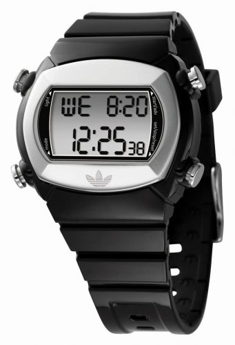 Adidas Originals ADH1570 Unisex Digital Multifunctional Black Pu Strap Watch