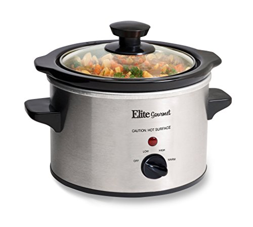 Elite Gourmet MST-250XS Maxi-Matic 1.5 Quart Slow Cooker, Silver (Stainless Steel Finish) (Mini Small Rice Cooker compare prices)