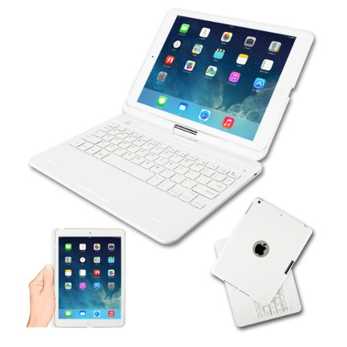 [2014 New Release] Kamor® Apple iPad Air Retina 16gb 32gb Keyboard Case High Quality Cover with Ultra Slim Bluetooth Keyboard for iPad Air Retina (iPad 5 5Gen 5 Generation) with 360 Degree Rotating Fe