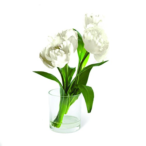 10 Inch White Tulips in Glass Cup