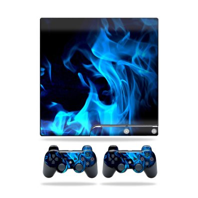Protective Vinyl Skin Decal Cover for Sony Playstation 3 PS3 Slim Skins + 2 Controller Skins Sticker Blue Flames