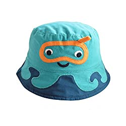 Home Prefer Baby Boys Floppy Brim Soft Cotton Bucket Hat with Strap Cute Animal Pattern Sun Protection Cap #53
