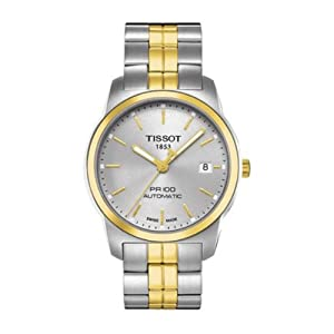 Tissot Mens PR100 Silver Two-Tone Analog Automatic Watch T0494072203100