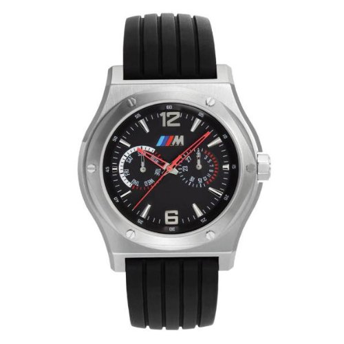 BMW Men's M Sport Watch. Produced by Tourneau exclusvely for BMW brushed stainless steel case and anthracite Dial & Black Band