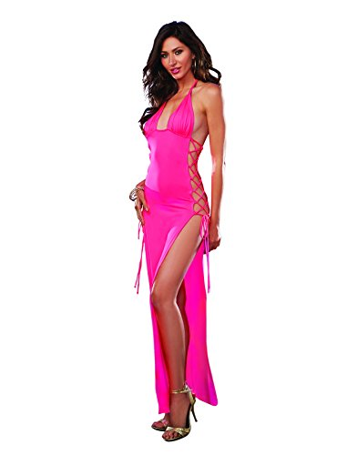 Dreamgirl Women's Stretch Jersey Long Halter Dress with Open Lace-Up Sides, Flamingo Pink, One Size