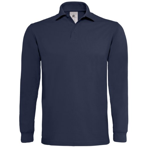 B&C - Polo Manica Lunga 100% Cotone - Uomo (M) (Blu navy)