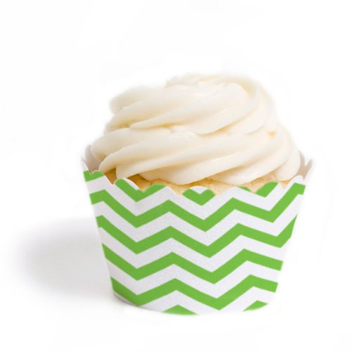 Dress My Cupcake Standard Cupcake Wrappers, Chevron, Kiwi Green, Set Of 12 front-416818