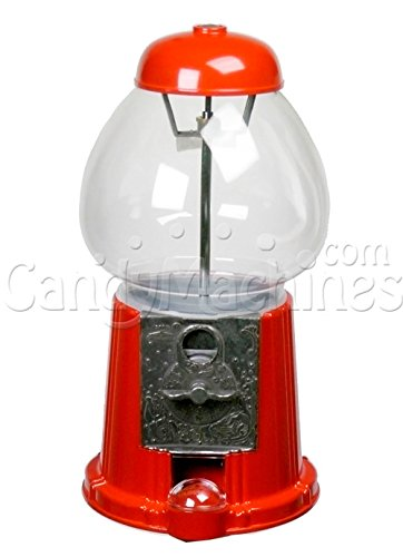 "Carousel King Gumball Machine Bank with Stand, 15"" tall - Die cast Metal Glass Globe (15"" w/ Stand, Red) - 1"