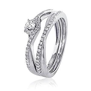 0.34 CT. Natural White Diamond Bridal Collection 18K White Gold Wedding Bridal Ring Set Matching Band