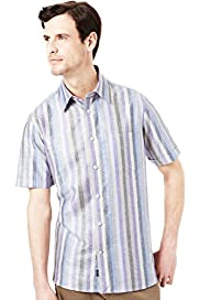 Blue Harbour Linen Blend Block Striped Shirt