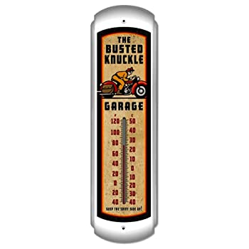 Busted Knuckle Garage BUST061 Vintage Motorcycle Wall Thermometer