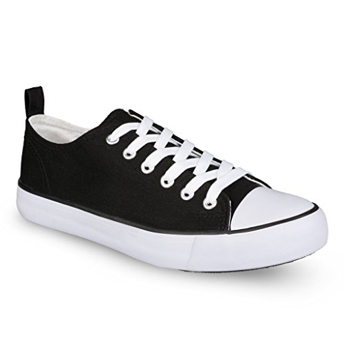 Twisted Womens KIX LO Retro Canvas Low Top Lace-Up Sneaker - BLACK/WHITE, Size 9