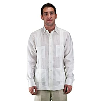 Long sleeve white guayabera wedding shirt by el
