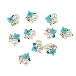 Imported 10Pcs 3D Nail Art Flower Alloy Rhinestones Peal Glitter Charms Jewelry DIY