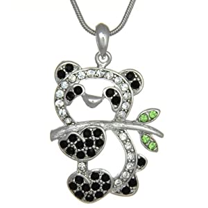 White Gold Plated Crystal Panda Bear Pendant Necklace