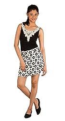 Modo Vivendi | Short Skirt Puff Sheds Pleated (Free Size, White+Flower Design)