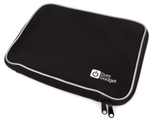 Duragadget Black Water Resistant & Shock Absorbent Neoprene Sleeve With Dual Zips For Acer Iconia W700 11.6-Inch Tablet (Intel Core I5 3317U 1.7Ghz, Wi-Fi, Windows 8), Acer Iconia Tab A700 32 Gb & Acer Iconia Tab A210 - (Nvidia Tegra T30l 1.2Ghz, Android 4