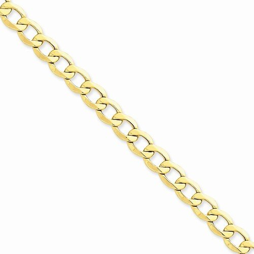 14K Yellow Gold 8.0Mm Semi Solid Curb Cuban Link Link Big Large Heavy Thick Chain Necklace - With Secure Lobster Lock Clasp 18""