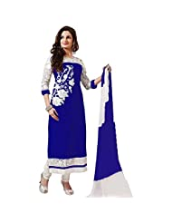 Aarti Lifestyle Women's Georgette Embroidered Blue & White Salwar Suit