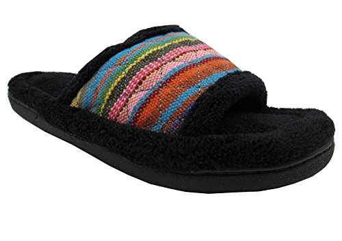 totes-isotoner-womens-microterry-tribal-striped-slide-slippers-95-10-black