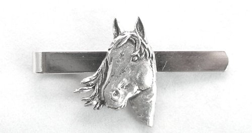 Horse's Head Tie Clip (slide) in Fine English Pewter, Gift Boxed
