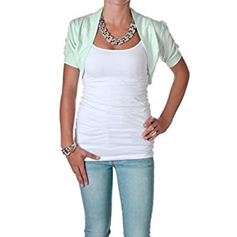 Smooth Fashion Women's Bolero Shrug Cardigan (Small, Mint)