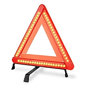 LED Safety Warning Triangle Reflector 17 Inch Emergency Road Flasher