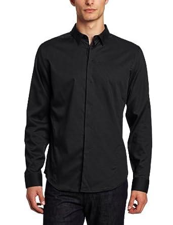 Calvin Klein Sportswear Men's Long Sleeve Window Pane Dobby Shirt, Black, Large