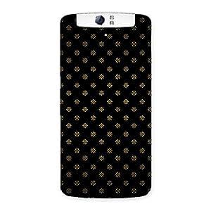 Delighted Golden Flower Black Back Case Cover for Oppo N1