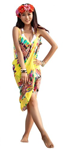 Am Clothes Womens Swimwear Backless Pareo Sarong Cover Up Beach Dress Sunflower Yellow front-437368