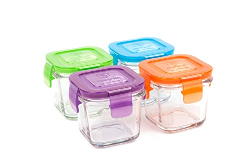 Wean Green Wean Cubes 4oz/120ml Baby Food Glass Containers - Multi Color (Set of 4) (Baby Food Cubes Storage compare prices)