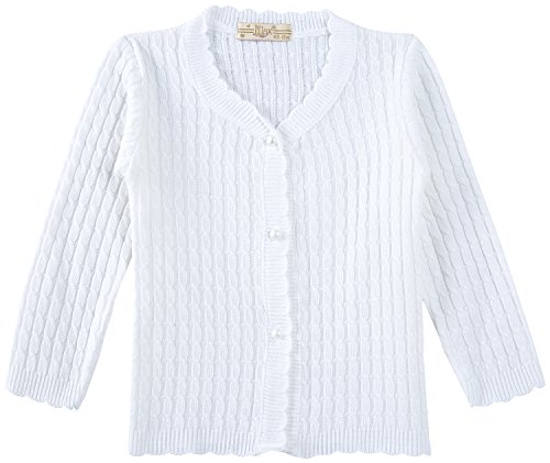 Lilax Baby Girls' Cable-Knit Cardigan Sweater 12M White