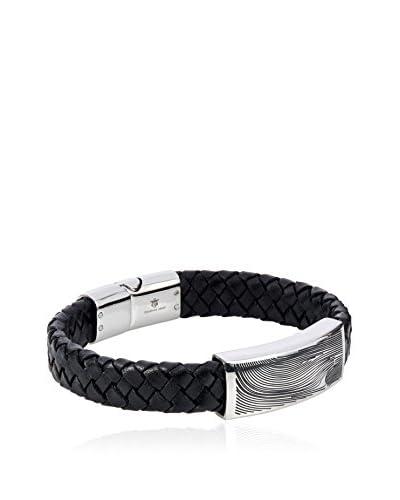 Blackjack Genuine Black Leather Stainless Steel Damascus Design Bracelet